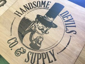 "Image of Laser Etching example ""Handsome Devils Co & Supply"" by Image Plastics"
